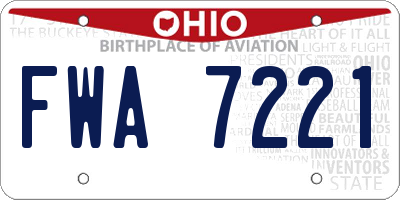 OH license plate FWA7221