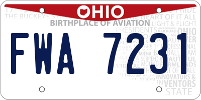 OH license plate FWA7231