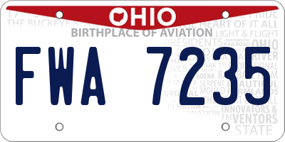 OH license plate FWA7235