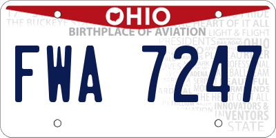 OH license plate FWA7247