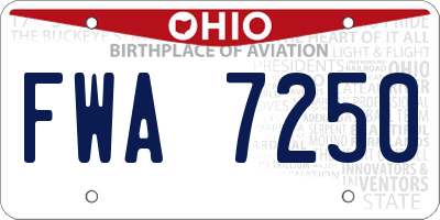 OH license plate FWA7250