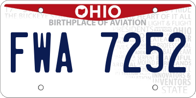OH license plate FWA7252