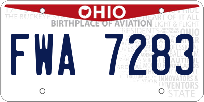 OH license plate FWA7283