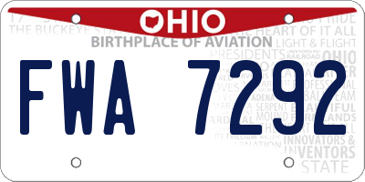 OH license plate FWA7292