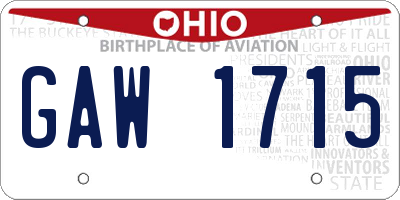 OH license plate GAW1715