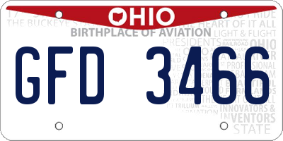 OH license plate GFD3466