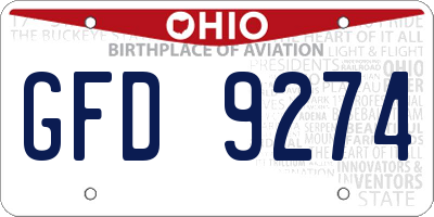 OH license plate GFD9274