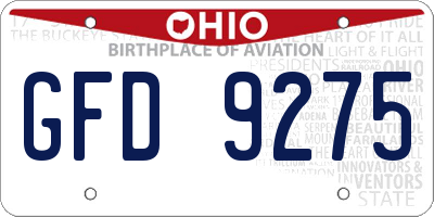 OH license plate GFD9275