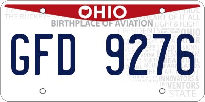 OH license plate GFD9276