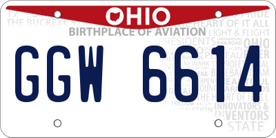 OH license plate GGW6614
