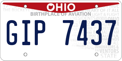 OH license plate GIP7437