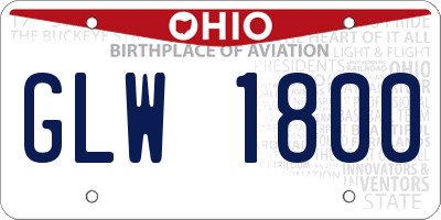 OH license plate GLW1800