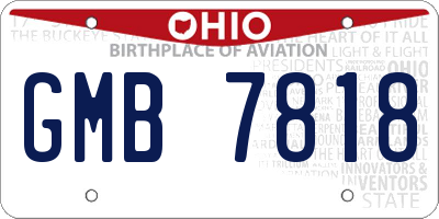 OH license plate GMB7818