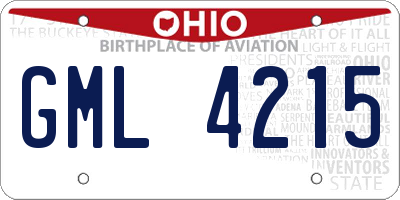OH license plate GML4215