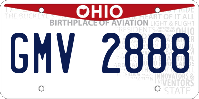 OH license plate GMV2888