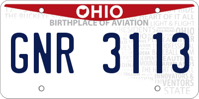 OH license plate GNR3113
