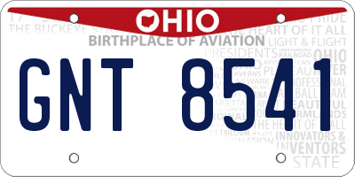 OH license plate GNT8541