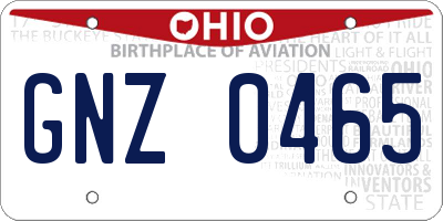OH license plate GNZ0465