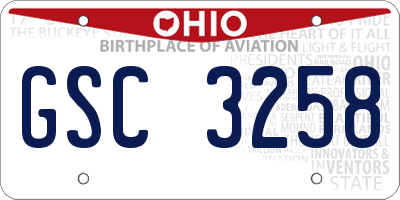 OH license plate GSC3258
