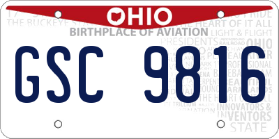 OH license plate GSC9816