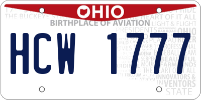 OH license plate HCW1777