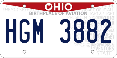 OH license plate HGM3882