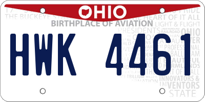 OH license plate HWK4461