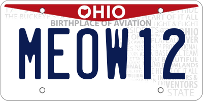 OH license plate MEOW12