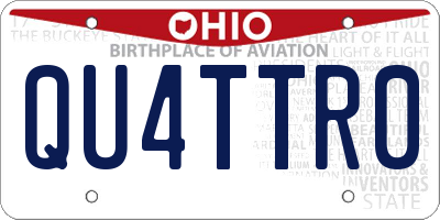OH license plate QU4TTR0