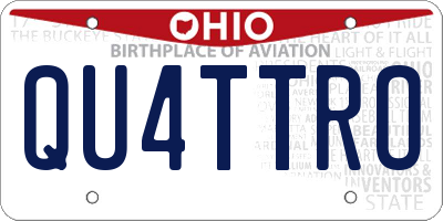 OH license plate QU4TTRO