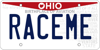 OH license plate RACEME