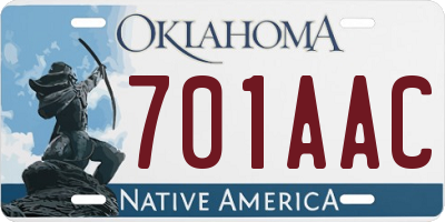OK license plate 701AAC
