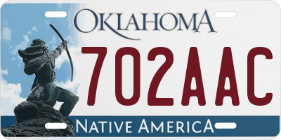 OK license plate 702AAC