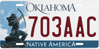 OK license plate 703AAC