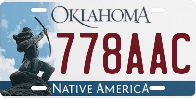 OK license plate 778AAC