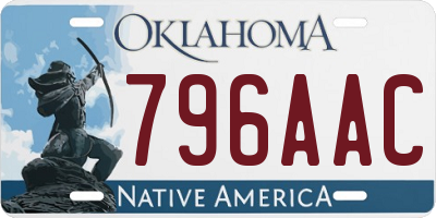 OK license plate 796AAC