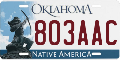 OK license plate 803AAC