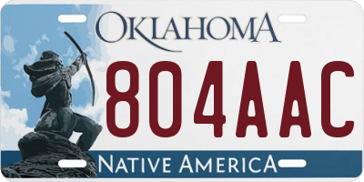 OK license plate 804AAC