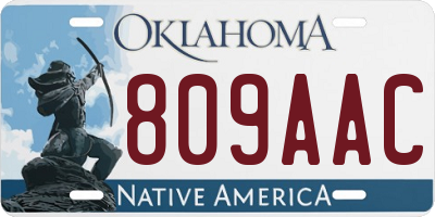 OK license plate 809AAC