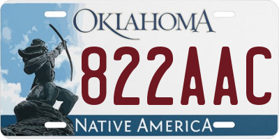 OK license plate 822AAC