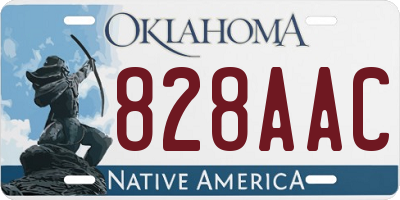 OK license plate 828AAC