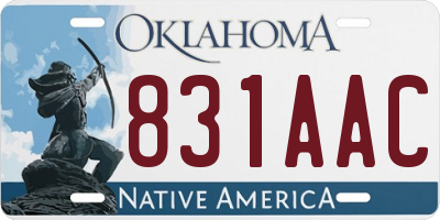 OK license plate 831AAC
