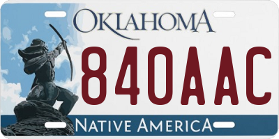 OK license plate 840AAC