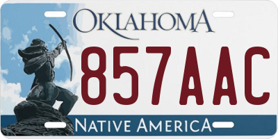 OK license plate 857AAC