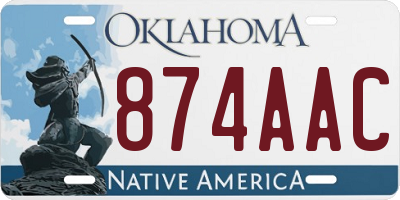 OK license plate 874AAC