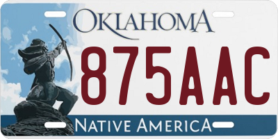 OK license plate 875AAC