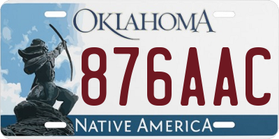 OK license plate 876AAC