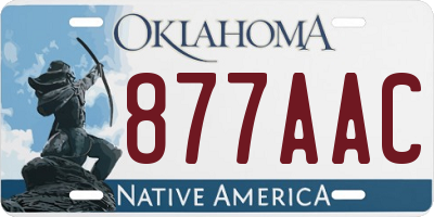 OK license plate 877AAC