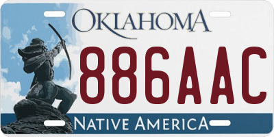 OK license plate 886AAC