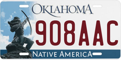 OK license plate 908AAC
